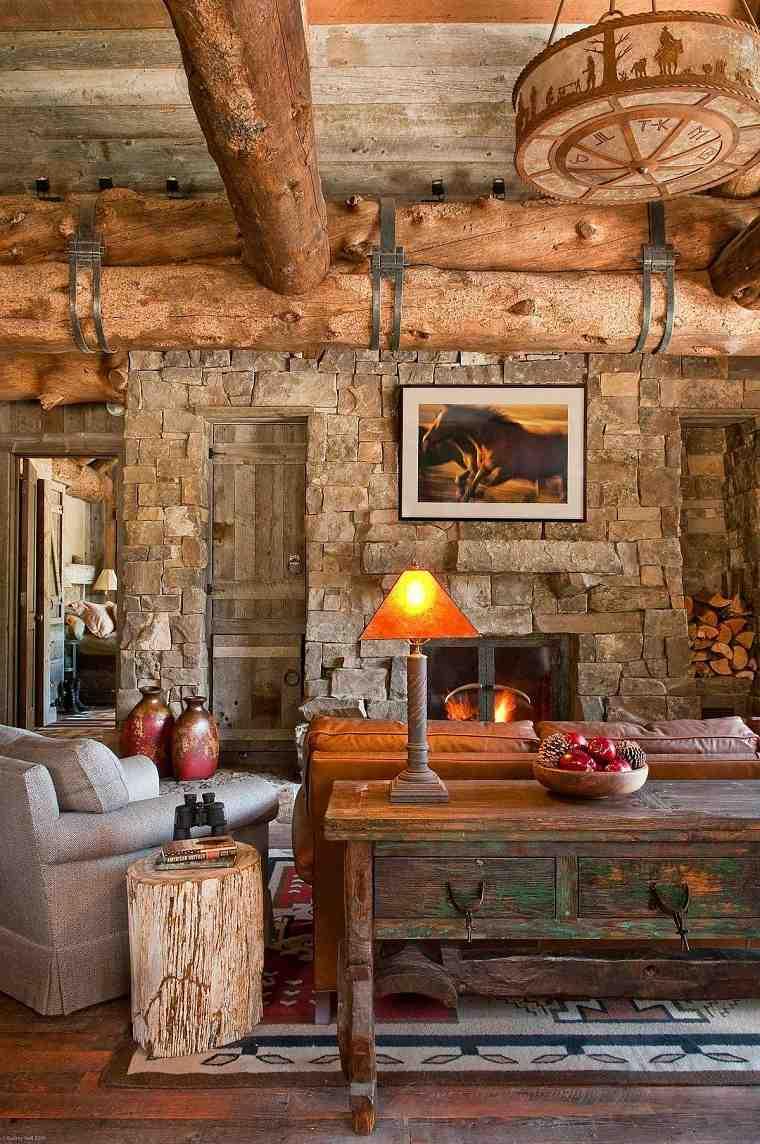 Salón rústico moderno madera-recuperada