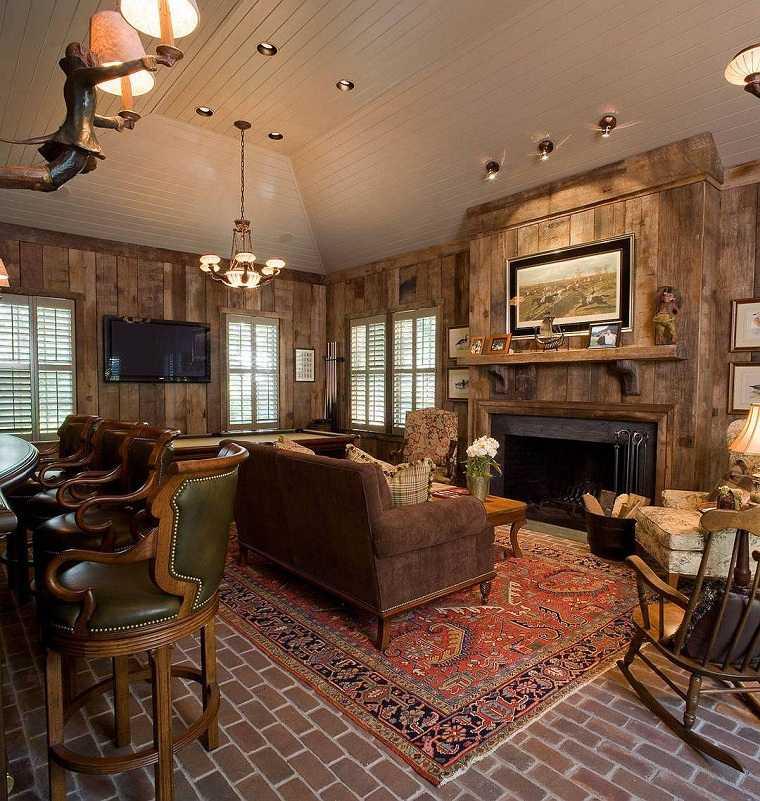 Salón rústico moderno madera