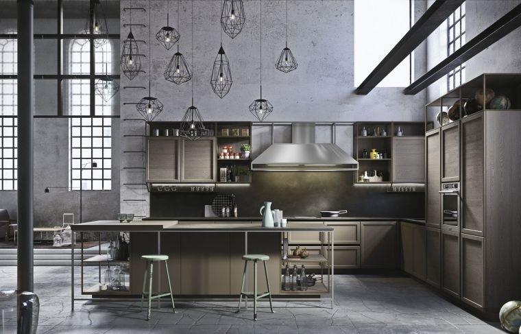 cocinas con estilo diseño industrial acogedor