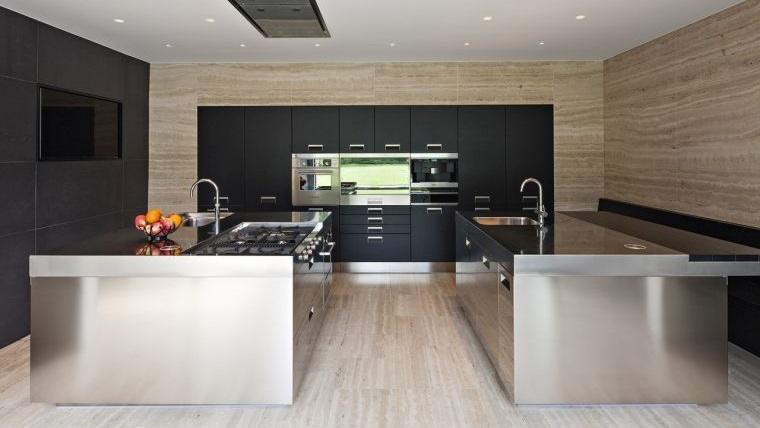 cocinas con estilo diseño industrial amplio espacio