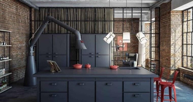 cocinas con estilo diseño industrial color oscuro