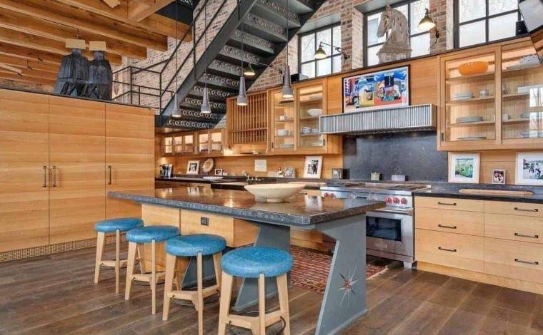 cocinas con estilo diseño industrial con madera