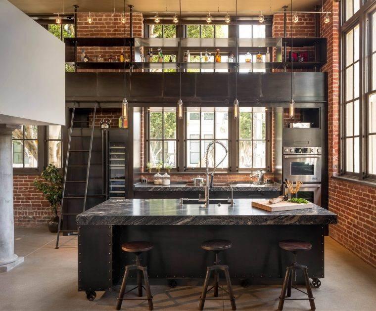 cocinas con estilo diseño industrial iluminacion llamativa