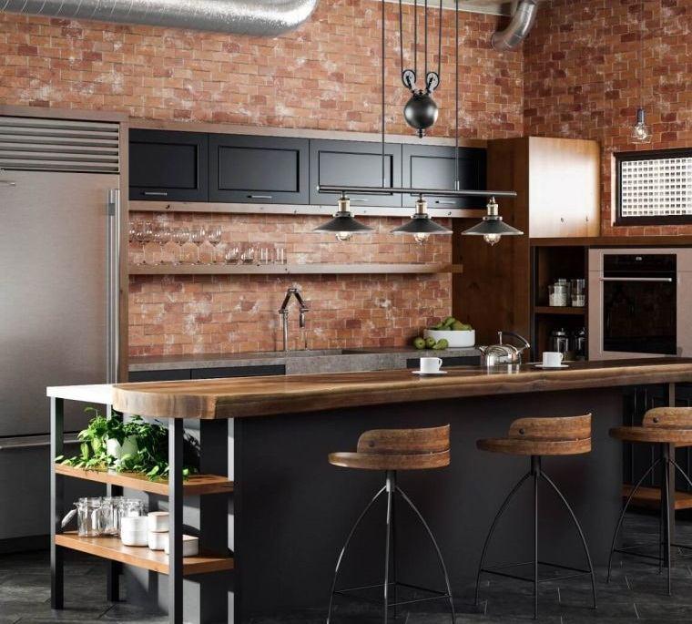 cocinas con estilo diseño industrial pared ladrillo