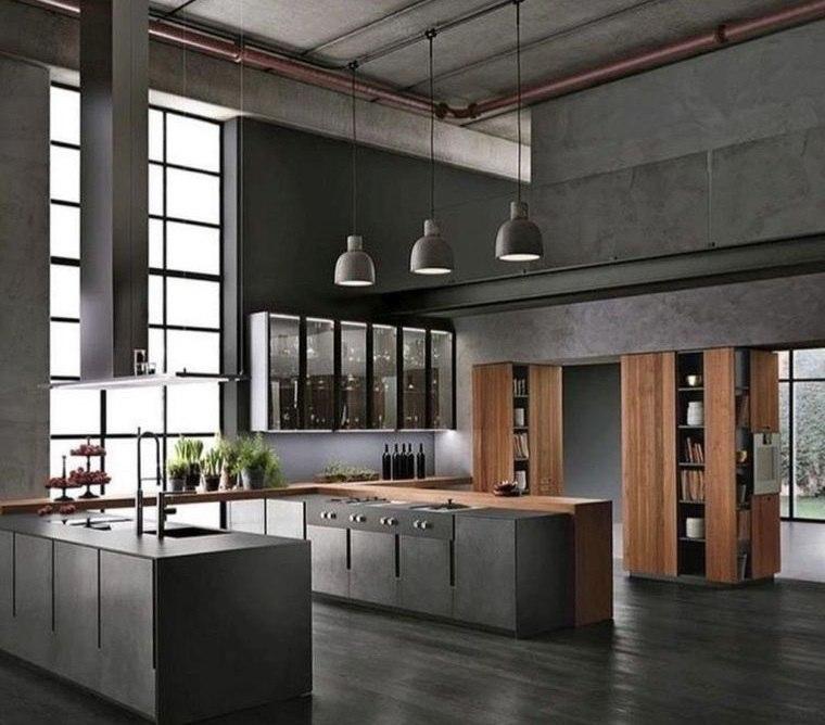 cocinas con estilo diseño industrial piso oscuro