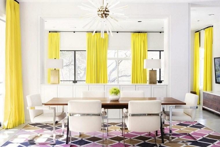 comedor-cortninas-amarillas-estilo