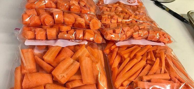 conservar zanahorias empaquetadas para congelar