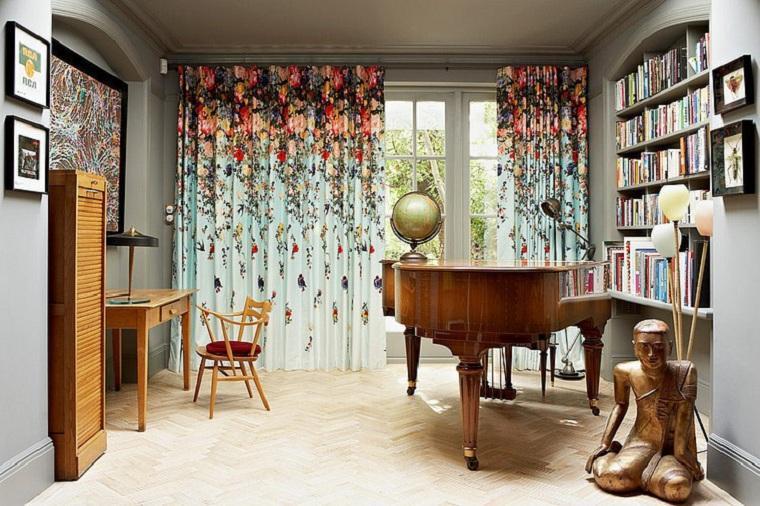 Cómo elegir cortinas cortina-estampado-flores-ideas