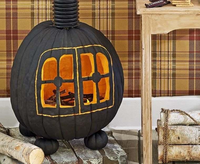 decoración de halloween calabaza estufa