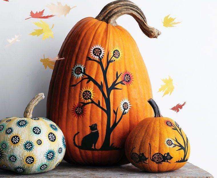 decoración de halloween calabazas pintadas con originalidad