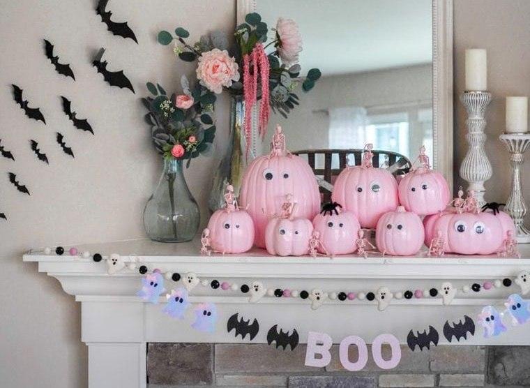 decoración de halloween calabazas rosadas