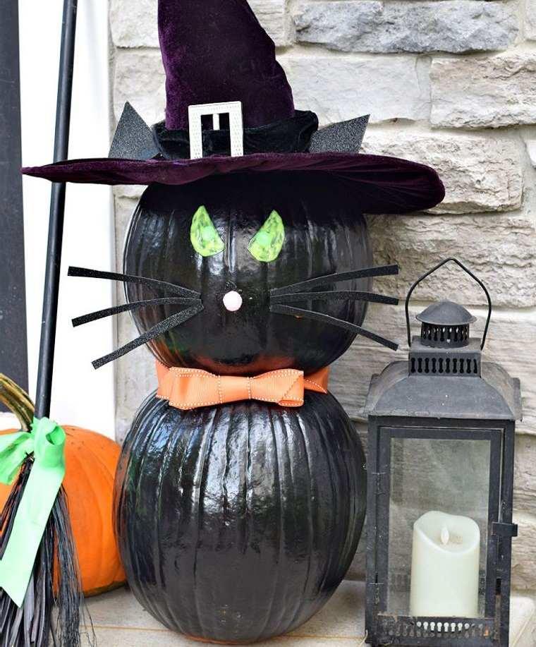 decoración de halloween gato negro con sombrero