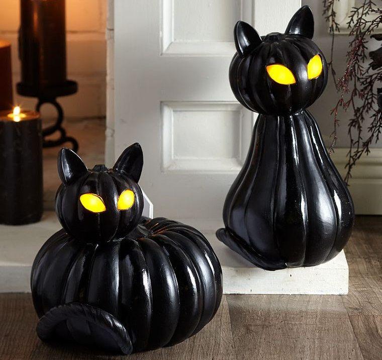 decoración de halloween gatos negros con calabazas
