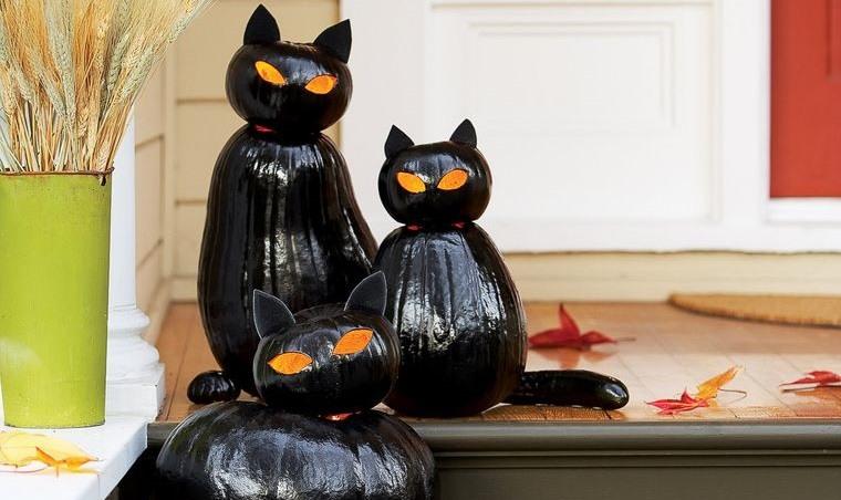decoración de halloween gatos negros