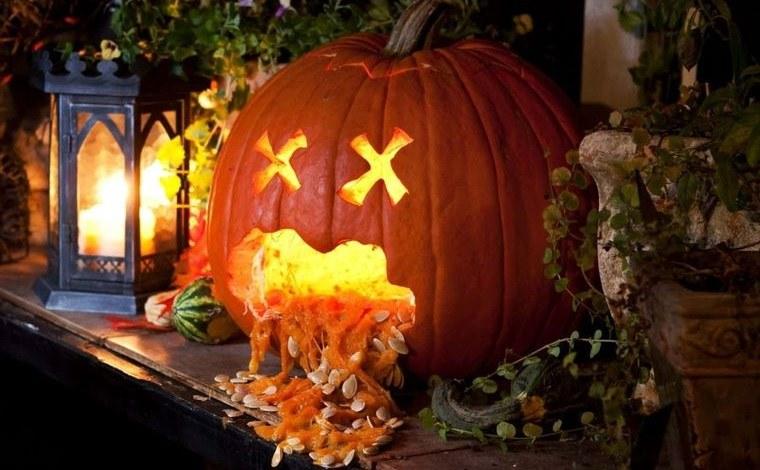 decoración de halloween linterna de calabaza