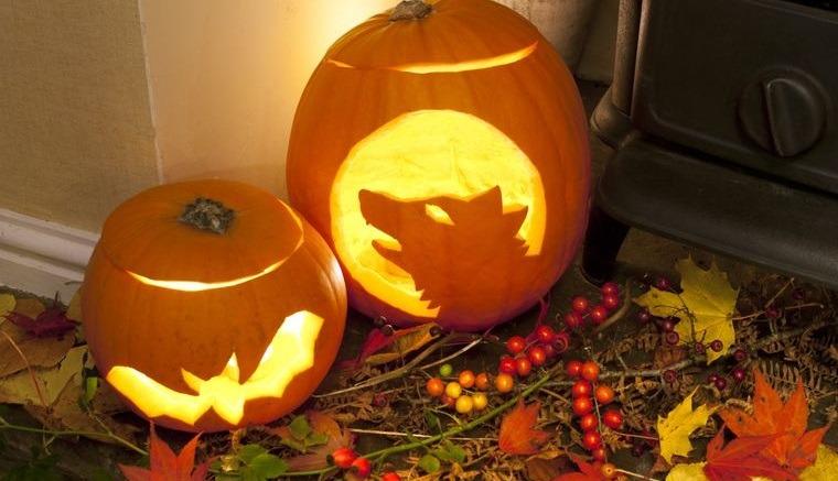decoración de halloween linternas de calabazas