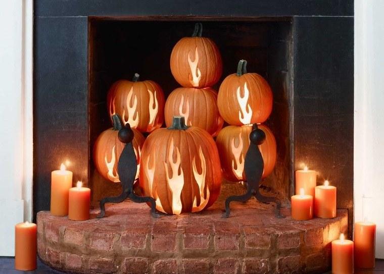 decoración de halloween llamas de fuego en calabazas