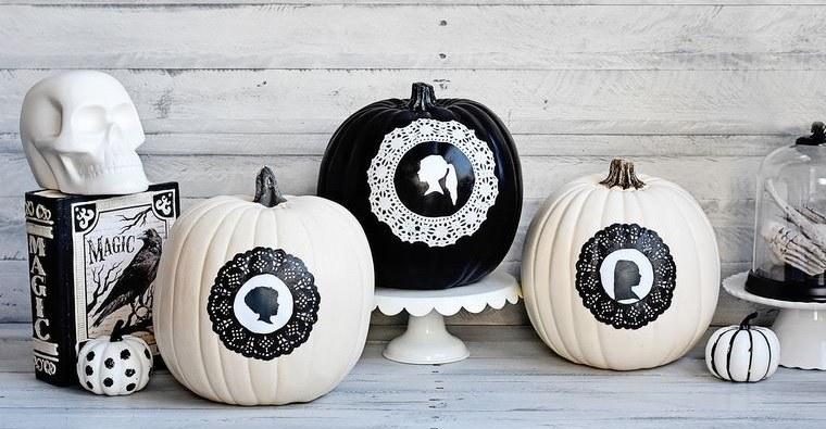 decoración de halloween siluetas en calabazas