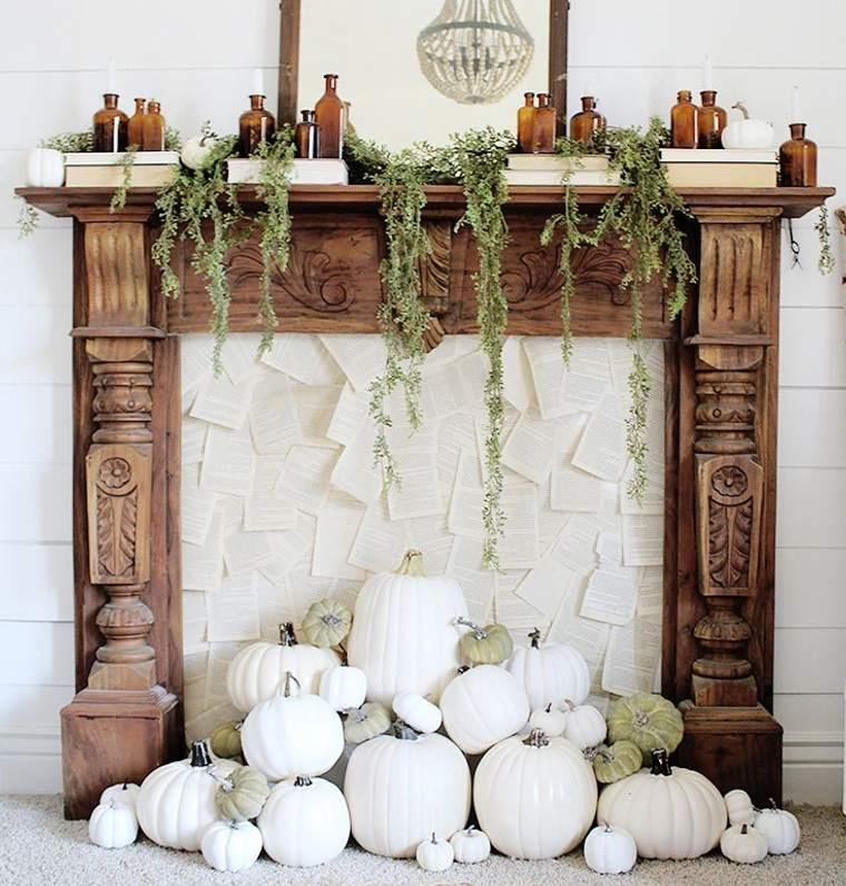 decoración otoño calabazas blancas