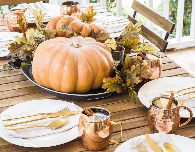 decoración otoño calabazas centro de mesa