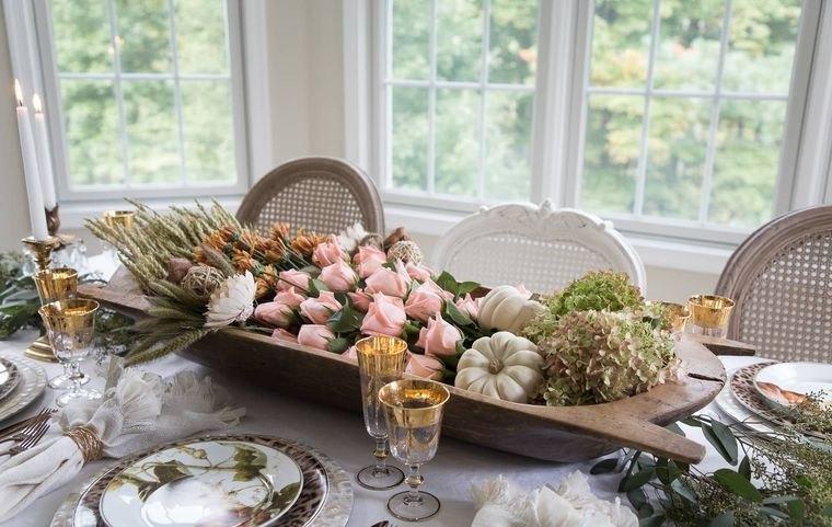 decoración otoño centro de mesa comedor
