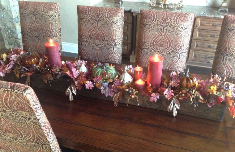decoración otoño centro de mesa