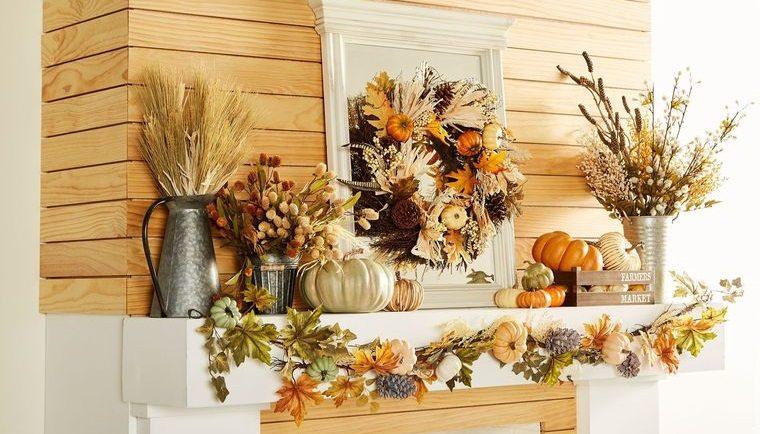 decoración otoño con elementos naturales