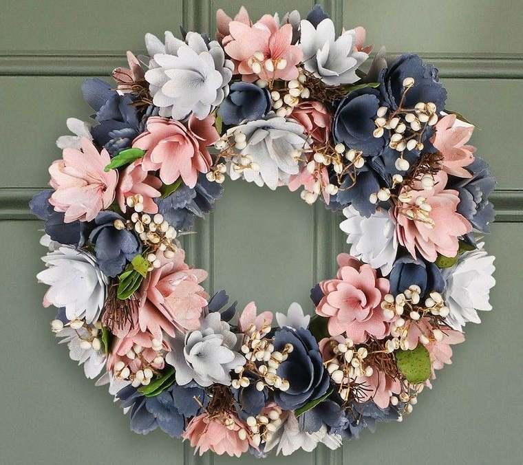 decoración otoño corona de flores