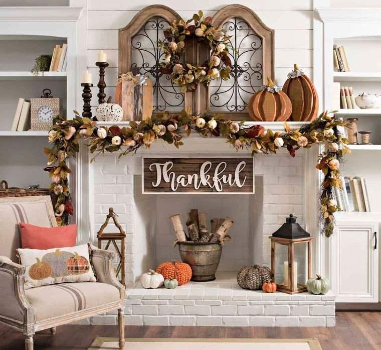 decoración otoño en repisa