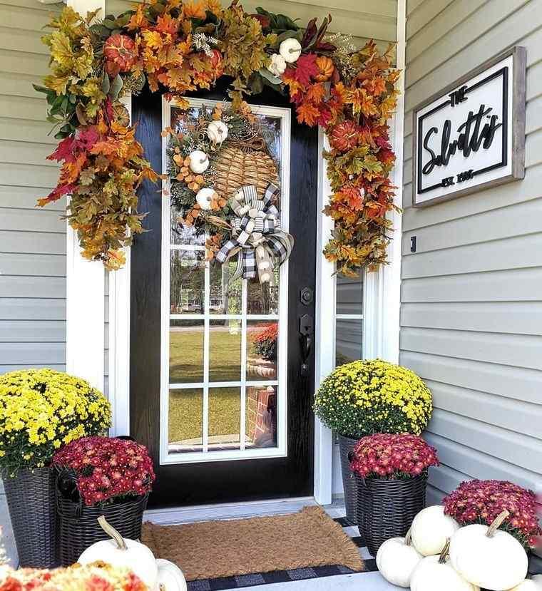 decoración otoño flores hojas calabazas