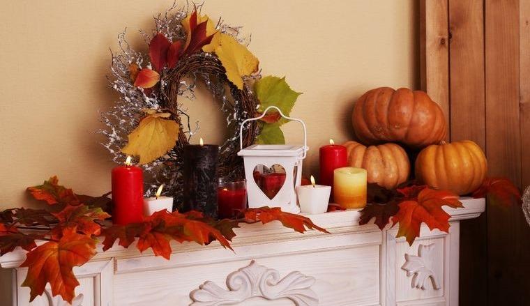 decoración otoño hojas calabazas