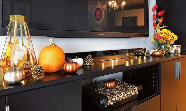 decoración otoño interior elegante