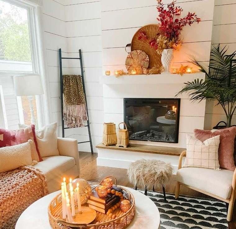 decoración otoño para pequeña sala de estar