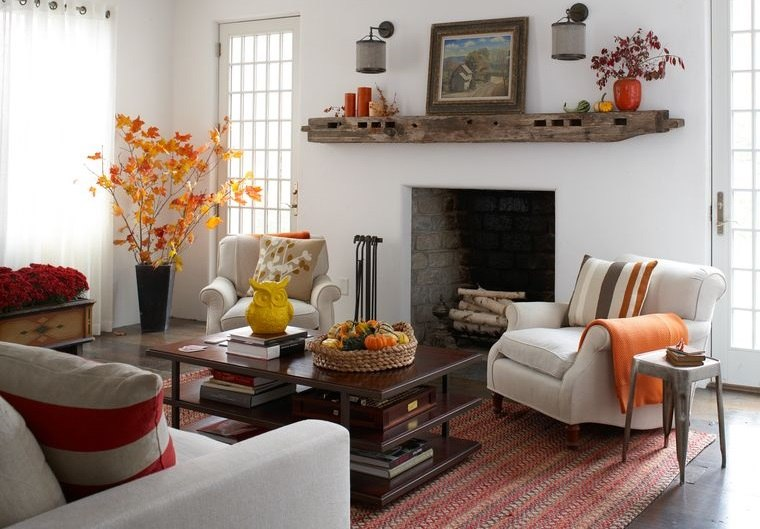 decoración otoño para sala de estar