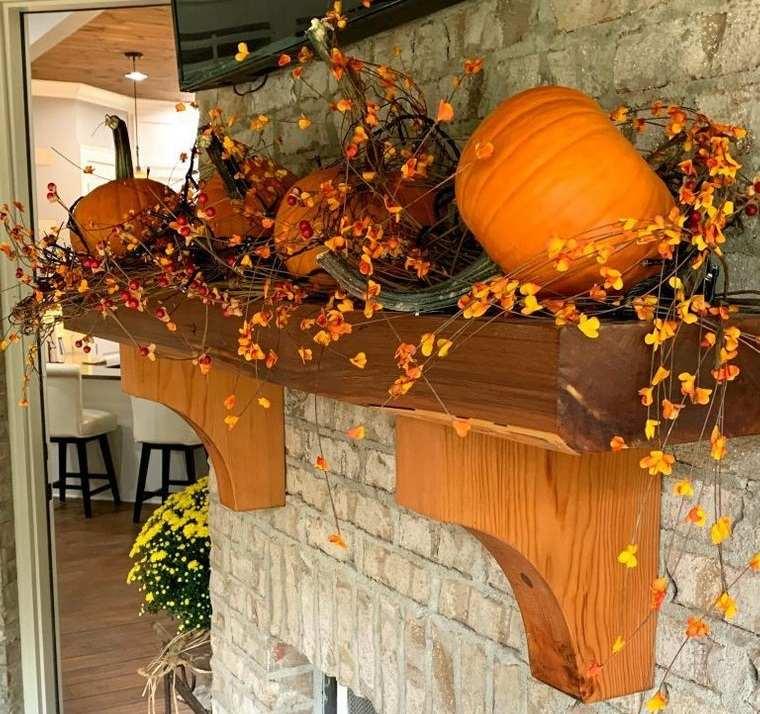 decoración otoño repisa de chimenea