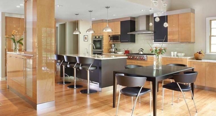 diseños de cocinas amplias colores