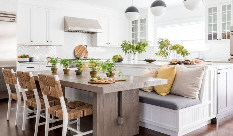 diseños de cocinas con asientos adicionales