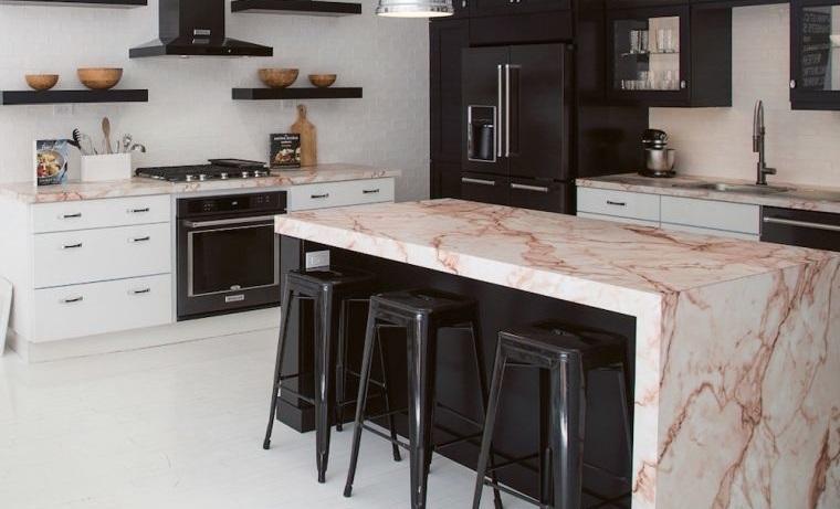 diseños de cocinas con encimeras de marmol