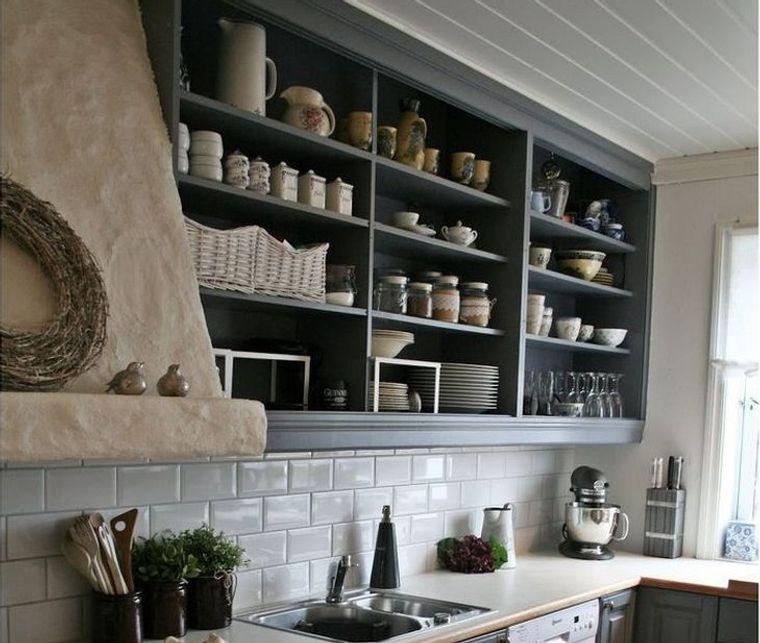 diseños de cocinas con estanterias abiertas