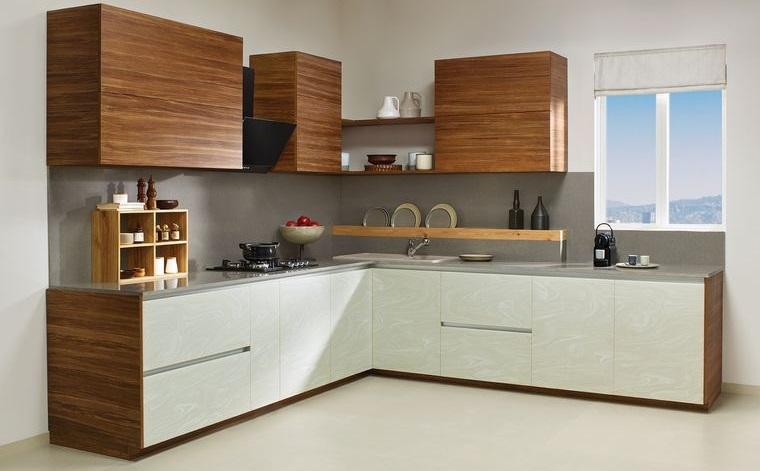 diseños de cocinas gabinetes blancos con marron