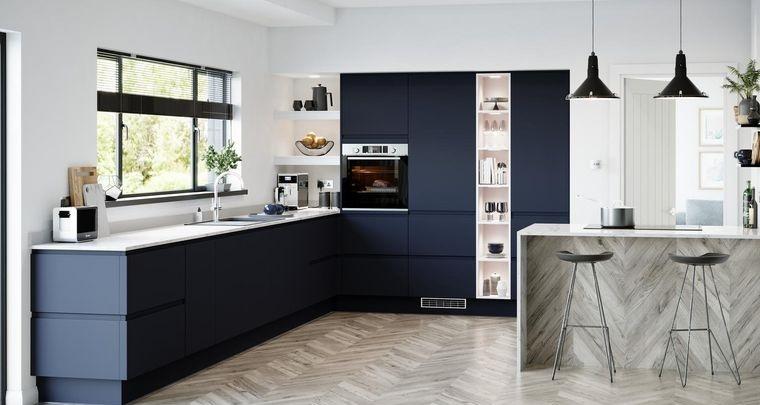 diseños de cocinas muebles en azul